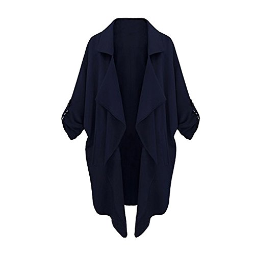 Kolylong® Frauen Outwear Jackenmantel Frau atmosphärischen beiläufigen großen Mantel Frau Windbreaker Lässige Strickjacke (M, Marine) (Promi-leder-hosen)