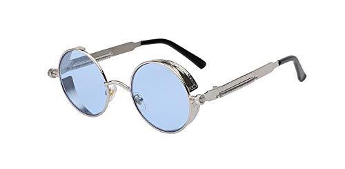 AOCCK Sonnenbrillen,Brillen, Gothic Steampunk Mens Sunglasses Coating Mirrored Sunglasses Round Circle Sun Glasses Retro Vintage Gafas Masculino Sol Silver w sea blue