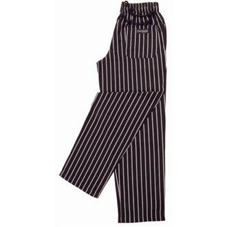 Chef Works A940-l Unisexe Easyfit Pantalon à rayures, taille L, Noir et Blanc