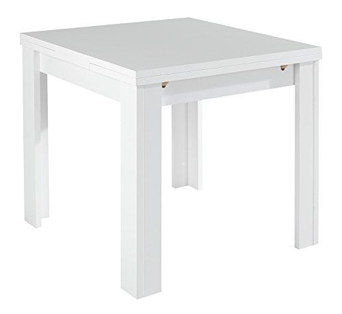 Esstisch Küchentisch Ausziehtisch MARY 2 | B 80 x T 80 cm | Dekor | Weiß matt | ausziehbar