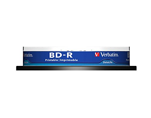 Verbatim 43804 25GB 6x BD-R SL Datalife Wide Inkjet Printable 10 Pack Spindle