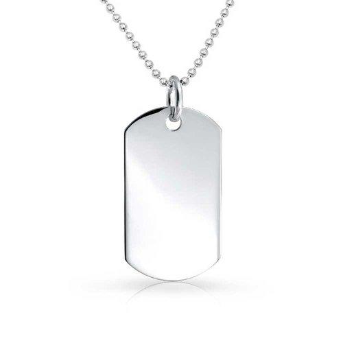 Kette Gravierbaren Mens Basic Militär Armee Dog Tag Halskette Für Herren Sterling Silber 24 Zoll ()