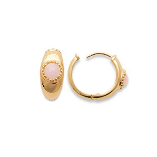 Tata Gisèle © - Orecchini a Cerchio placcati Oro, con Pietra incastonata: Quarzo Rosa, Confezione Regalo in Velluto