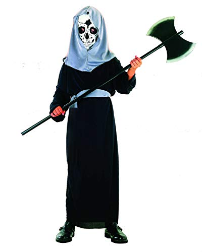 Gruselige Kinder Kostüm - Magicoo Dämon Skelett Kostüm Kinder Jungen schwarz-grau - gruseliges Sensemann Halloween Kostüm Jungen Gr. 110 bis 140 (134/140)