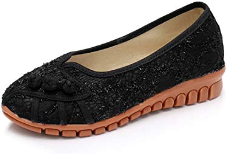 Bordado Zapatos/Alpargatas/ Merceditas/Breathable Cloth Shoes, Beef Tendon Bottom, Small Slope and Wild Women's...