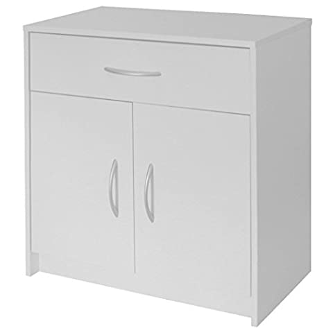Devoted2Home Boldon Lounge Furniture with 2 Doors/1-Drawer Sideboard/Cabinet, Wood, White, 38.8 x 68.8 x 73.5
