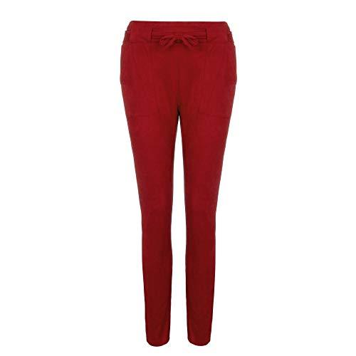 Coolster Damen -beiläufige gestreifte hohe Taillen-Hosen-elastische Taillen-beiläufige Hosen (Rot (Winter Stil), 2XL)