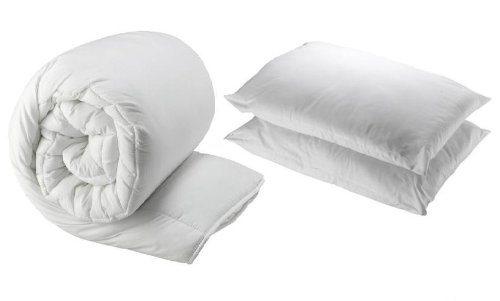 13.5 Tog Polycotton Hollowfibre Quilt Duvet With Two Pillows, Single by Bedding Online (Pillow-top-single)