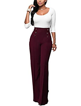 La Mujer Elegante Cruzado Pantalones Pantalones De Talle Alto Largo Suelto