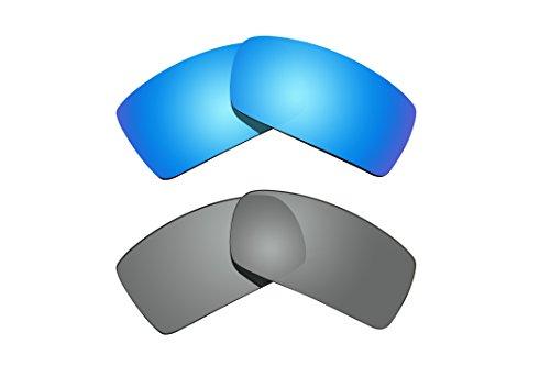 2Paar Polarisierte Ersatz Objektive grau & blau für Oakley Sonnenbrille Gascan