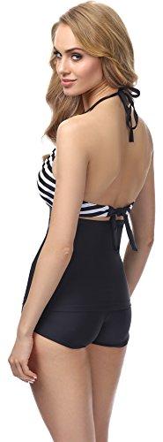 Merry Style Tankini per Donna MS10-113 Nero/Bianco Strisce