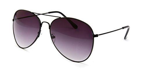 Pilotenbrille Fliegerbrille Sonnenbrille Nerd Piloten Brille Vintage Classic Look UV Schutz 400 - Schwarz