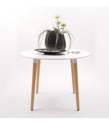 Homely - Mesa de comedor Nordik, tapa lacada y patas de madera - Redonda-100 cm.