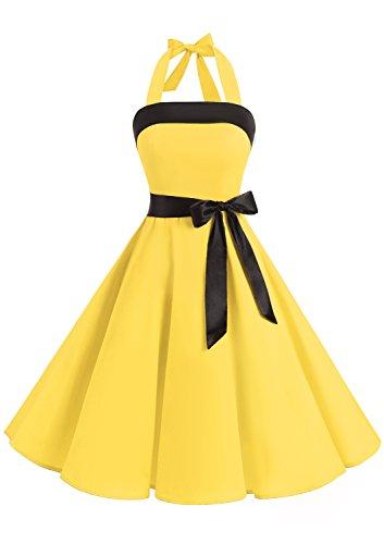 Timormode 10212 Damen Vintage Kleid 1950 Neckholder Cocktailkleid Faltenrock Partykleid S Gelb