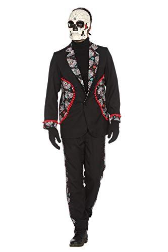Der Kostüm Toten Mexiko Tag - Wilbers Tag der Toten Kostüm Herren Day of The Dead Skelett Set Karneval Fasching Schwarz/Weiß/Rot 56 (XXL)
