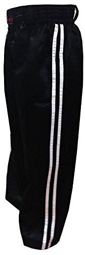 Vader Sports - Kickbox Hose Trainingshose mit Zwei Streifen an der Seite Kinder und Erwachsenen Satin Hose - Schwarz mit weißen Streifen, 1/140cm Kinder 10-11 Jahre