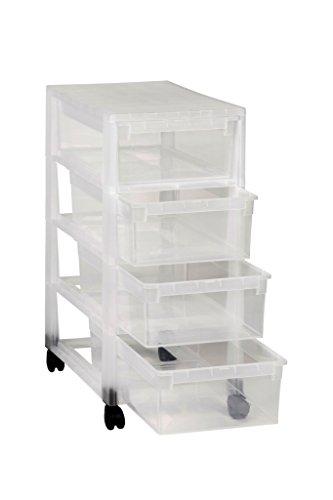 Ordnung in Büro, Haushalt & Spielzimmer! Multifunktionaler Rollwagen mit vier gleich großen Schubladen. Schubladen und Korpus in komplett Transparent! Mit vier leichtängigen Rollen - SUPER!