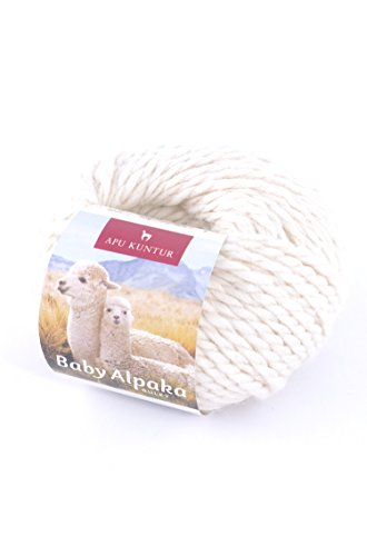 Baby-Alpaka Woll-Knäuel BULKY 50g 50m Nadel 8 Strick-Häkel-Garn APU KUNTUR natur ecru weiss