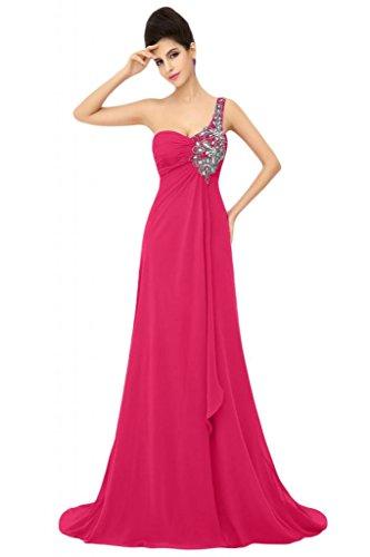 Sunvary formale abiti da sera o Chiffon Una spalla A-line madre della sposa Gowns Hot Pink
