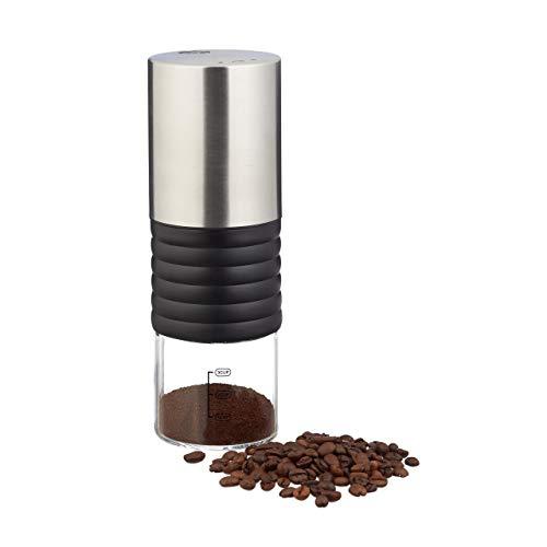 Relaxdays 10023301 Elektrische Kaffeemühle, Edelstahl, verstellbares Keramikmahlwerk, bis zu 3 Tassen, Espressomühle USB, Silber