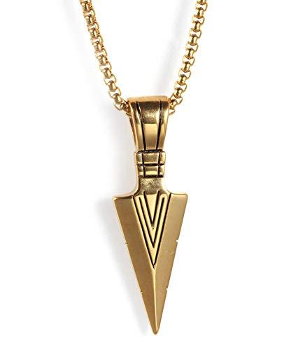 Edelstahl Speer Kopf Retro Anhänger Herren Halskette Mode Pfeil Titan Stahl Darts Gold Dreieck Anhänger Schmuck Geschenk-Gold - Herren-speer