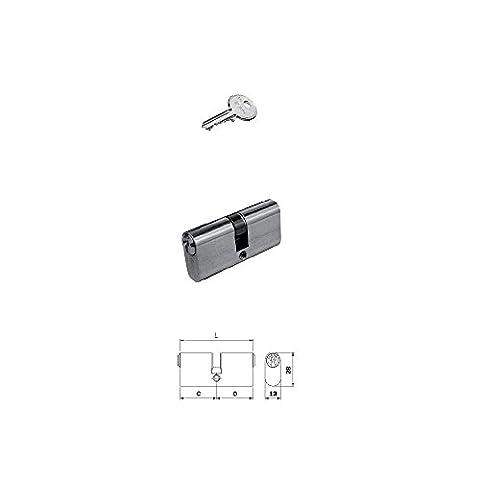 Iseo 830027273F5Cylindre centré ovale petit 54mm 27–27Double profil 13x 28mm laiton nickelé brillant Clé 5fiches 3clés incluses