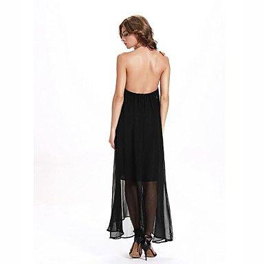 PU&PU Robe Aux femmes Mousseline de Soie / Swing Chic de Rue,Couleur Pleine Licou Maxi Polyester BLACK-XL