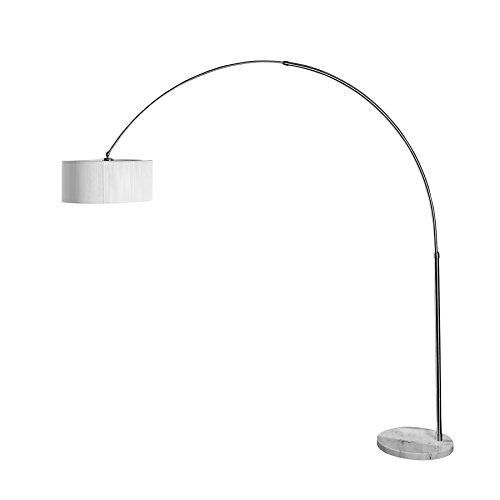 Exklusive Design Bogenleuchte EXTENSO weiss Stehlampe mit weissem Fuss