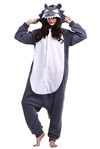 suit Tier Pyjamas Kostüm Fasching Onesie Damen Herren Karneval Cosplay Nachtwäsche, Grau Wolf ()