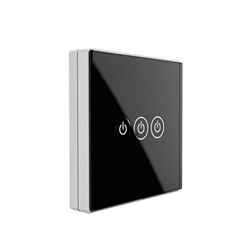perfk 3-Wege- Glasplatte Wand Touch-Schalter SmartPhone Fernbedienung Funkschalter Touchscreen-schalter mit Timerfunktion und Überlastungsschutz - schwarz -