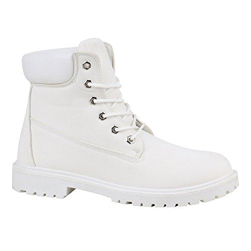 Herren Worker Boots Bequeme Outdoor Schuhe Profil Leder-Optik 151661 Weiss Autol 43 Flandell