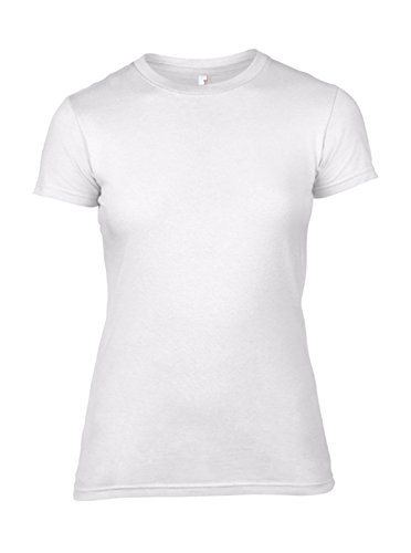 Women´s Fashion Basic Fitted Tee in White Größe: S (T-shirt Fitted Baby-womens)
