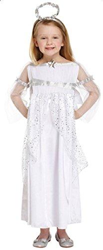 Fancy Me Mädchen lang voll Länge weiß Silber Weihnachtsengel Fee Geburt Gabriel Kostüm Kleid Outfit Ages 4-12 Jahre - Weiß, 7-9 Years (Kinder Kostüm Engel Gabriel)