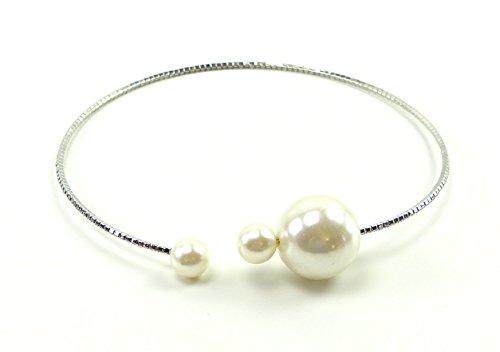 Spangen Designer (edle Designer Halsbänder oder Haarreifen aus Metall mit Strass und Perlen besetzt (SILBER-PERLE))