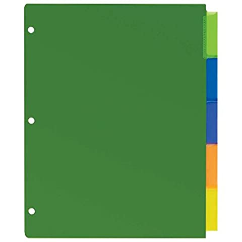 AVERY-DENNISON 11900 Big Tab Durable Plastic Insertable Dividers, 5-Tab, Letter,
