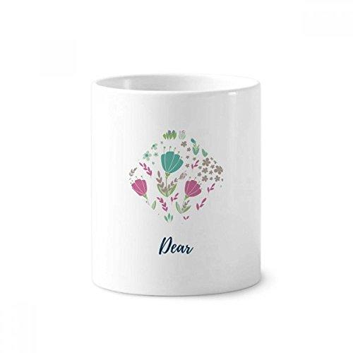 Punch Cup (DIYthinker Punch Blume Pflanze Farbe Keramik Zahnbürste Stifthalter Tasse Weiß Cup 350ml Geschenk 9.6cm x 8.2cm hoch Durchmesser)
