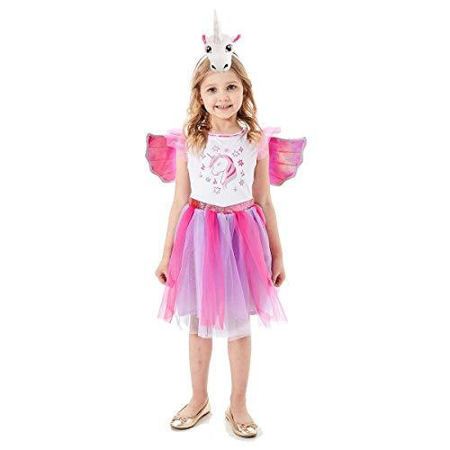 Mädchen Einhorn-Kleid funkelndes Einhorn Tutu Kostüm Einhorn Motto Geburtstag Party Outfit, Anna0117, Sparkling Unicorn, S3-4
