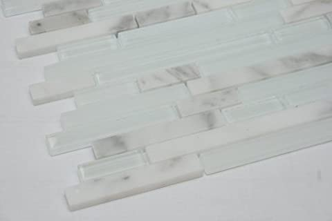 Random Brick Pattern Glass Tile & Marble Tile; Color: White Glass Mosaic Tile with Jazz White Marble Mosaic Tile by Marble 'n things