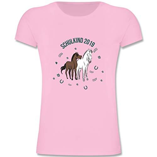 Einschulung und Schulanfang - Schulkind 2019 Pferde - 128 (7-8 Jahre) - Rosa - F131K - Mädchen Kinder T-Shirt