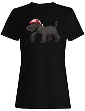 Regalo divertido de la sonrisa del perro de la Feliz Navidad camiseta de las mujeres g921f