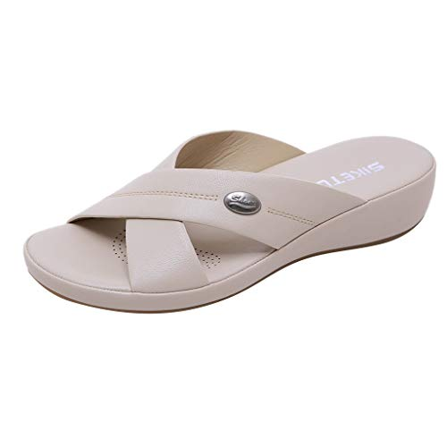 Lucky Mall Frauen Einfarbige Weich Pantoffeln mit Keilabsatz, Damen Sandalen Sommer Einfacher Stil Offene Zehen Keilschuhe Strandschuhe Lässiges Hausschuhe (Herr Erdnuss Kostüm Frauen)