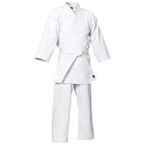MYmixtrendz. Weißer Karate-Anzug für Erwachsene und Kinderschüler mit KOSTENLOSEM weißen Gürtel Poly/Cotton (vorgeschrumpft) Uniformen Jungen Kimono-Set (White, 4/170cm MEDIUM)