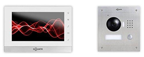 Preisvergleich Produktbild GOLIATH IP Video-Türsprechanlage, 7 Zoll Innenstation + 1-Familienhaus Außenstation mit HD Kamera (Unterputz), P2P, Fernzugriff & Türöffner-Funktion über Handy-App, Mobile-App für iOS & Android, Gegensprechanlage, Komplett Set AV-VTC06