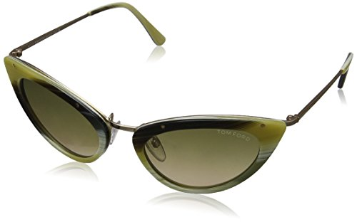 Tom Ford Damen FT0349 Sonnenbrille, Shiny Rose Gold with Green & Honey, One size