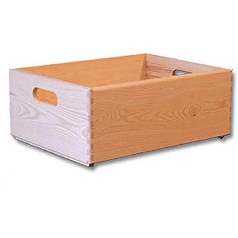 Mediana caja de madera con manijas - Cofre de almacenamiento - Caja para jugetes - Caja de bricolaje - Caja nopintada 40x 30 x 14cm