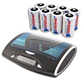 Tenergy T9688 Super Universal LCD Battery Charger With 8 Pieces Of Premium NiMH Tenergy D Size Rechargeable Batteries