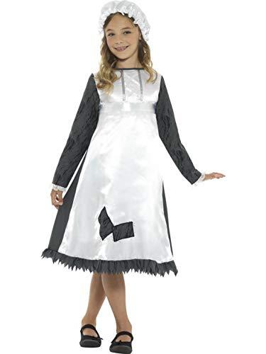 Zimmermädchen Mittelalterliche Kostüm - Halloweenia - Mädchen Kinder mittelalterliches Zimmermädchen Hausmädchen Magd Kostüm mit Kleid und Hut, perfekt für Karneval, Fasching und Fastnacht, 104-116, Weiß