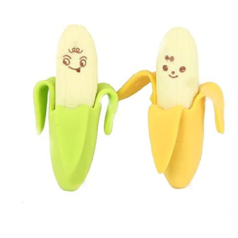 Tankerstreet Novelty Banana Shaped Pencil Eraser Kid Lovely Cute Rubber Set Stationery Party Kids Gift Toy Gift-giving Green Yellow Pack of