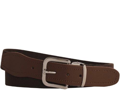 Hochwertiger Elastik- Stoffgürtel von Xeira® - Verfügbar in vielen Farben / Muster und Größen bis XXXL 160cm - Made in Germany - Schwarz / Rot / Braun / Grau / Weiß / Dunkel Blau (120, Dunkel Braun / Braunes Leder)
