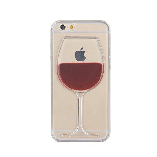 Japace® Klarsicht Transparent Hard Case Back Cover Schale Zubehör für Apple iPhone 6 4.7 Zoll Durchsichtige Handytasche Handyhülle Schutz Hülle Etui Tasche mit Muster Weinglas Weinglas